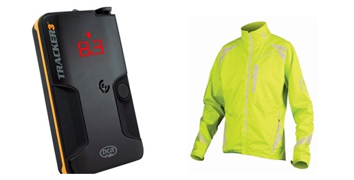 BCA Tracker 3 avalanche beacon, Endura Luminite II bike jacket
